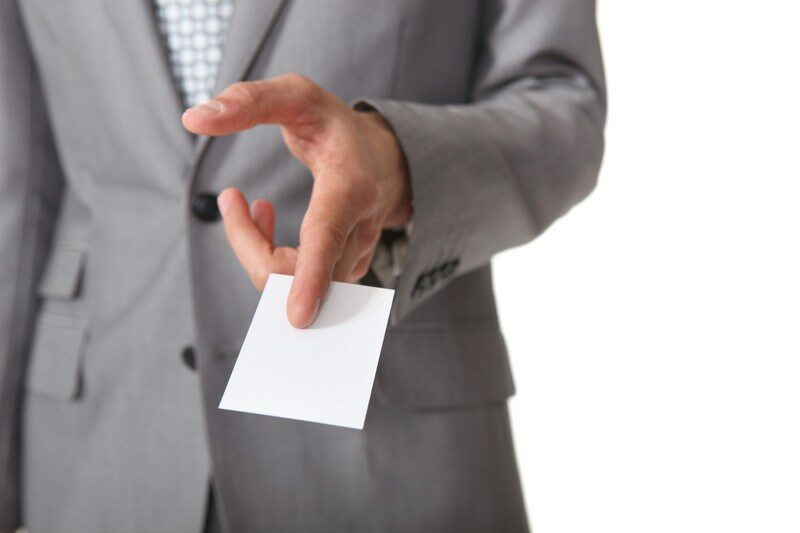 Handing out a business card
