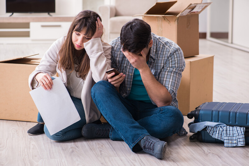 Worried couple facing eviction